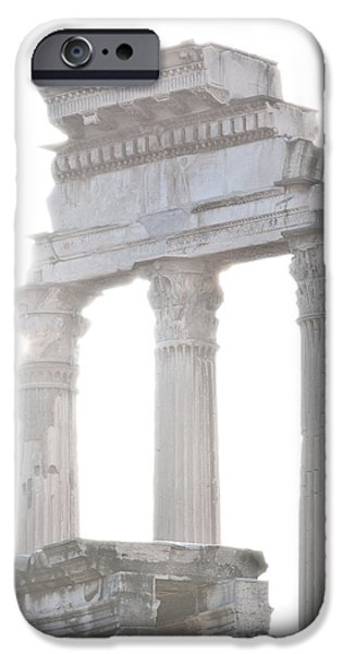 WHITE COLUMNS temple of Castor and Pollux in the Forum Rome Italy iPhone Case by Andy Smy