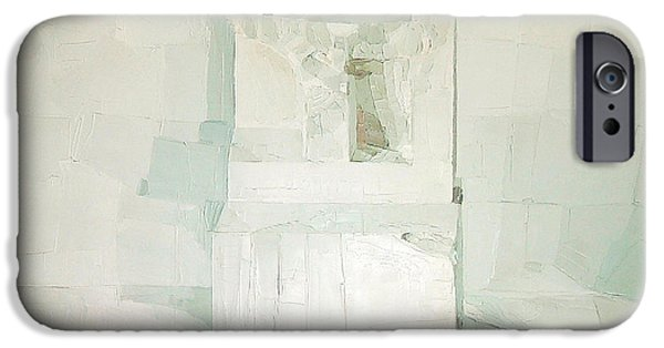 Abstract On Canvas Paintings iPhone Cases - White iPhone Case by Daniel Cacouault