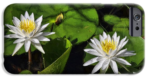 Lilly Pads iPhone Cases - White Duo iPhone Case by Deborah Benoit