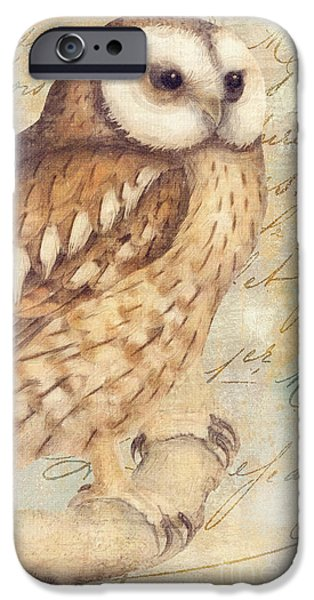 Colored Owls iPhone Cases - White Faced Owl iPhone Case by Mindy Sommers