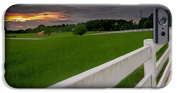Board Tapestries - Textiles iPhone Cases - White fence leads home iPhone Case by James Hennis