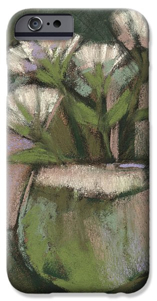 Growth Pastels iPhone Cases - White Flowers iPhone Case by Janine Aykens