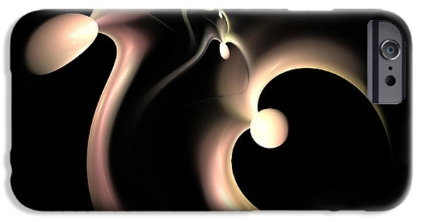 Fractal Mixed Media iPhone Cases - White Heart In Abstract iPhone Case by Deborah Benoit