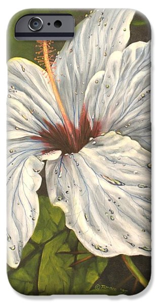 Garden Scene Paintings iPhone Cases - White Hibiscus iPhone Case by Tamara Kulish