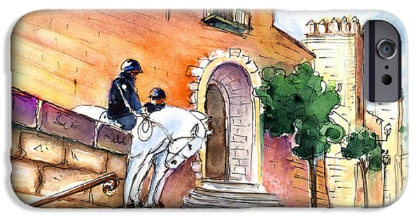 Police Art Drawings iPhone Cases - White Horses By The Cathedral In Palma De Mallorca 02 iPhone Case by Miki De Goodaboom