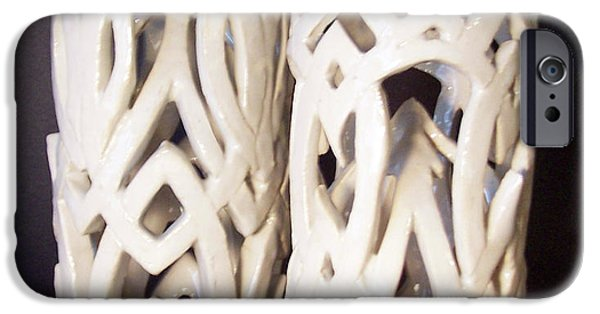 Ceramics iPhone Cases - White Interlaced Sculptures iPhone Case by Carolyn Coffey Wallace