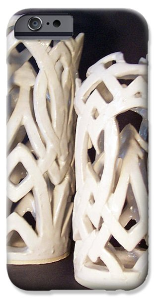 White Interlaced Sculptures iPhone Case by Carolyn Coffey Wallace