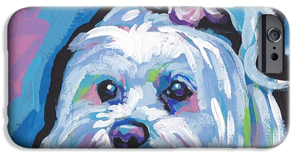 Fun Dog Art iPhone Cases - White is white iPhone Case by Lea