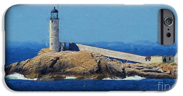 New England Lighthouse iPhone Cases - White Island Lighthouse iPhone Case by Mim White