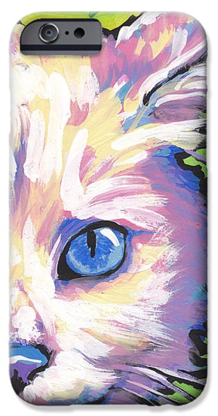 White Cat Art iPhone Cases - White Kitty Cat iPhone Case by Lea