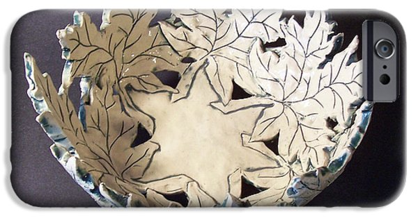 Ceramics iPhone Cases - White Maple Leaf Bowl iPhone Case by Carolyn Coffey Wallace