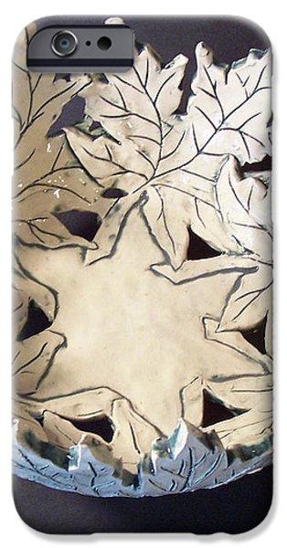 White Maple Leaf Bowl iPhone Case by Carolyn Coffey Wallace