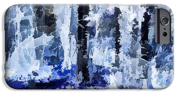 Abstractions iPhone Cases - White Night in the Forest iPhone Case by Alexey Bazhan