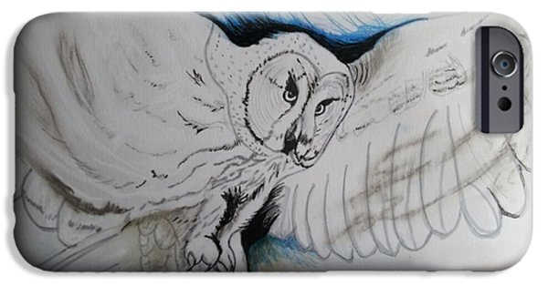 Michelle iPhone Cases - White Owl of Wisdom iPhone Case by Michelle Reid