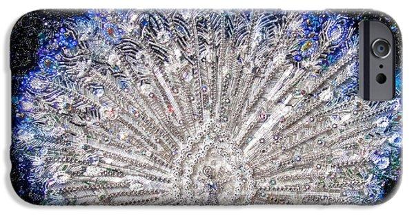 Beadwork Jewelry iPhone Cases - White Peacock beadwork, bead embroidery iPhone Case by Sofia Metal Queen