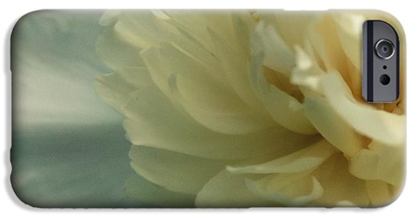 Close Up Floral Pyrography iPhone Cases - White Peony 2 iPhone Case by Lona Bon
