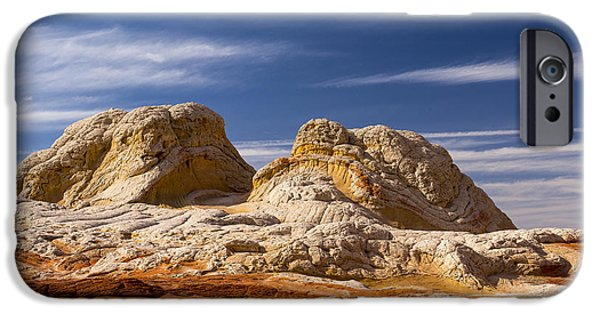 Red Rock iPhone Cases - White Pocket landscape  iPhone Case by Minnetta Heidbrink