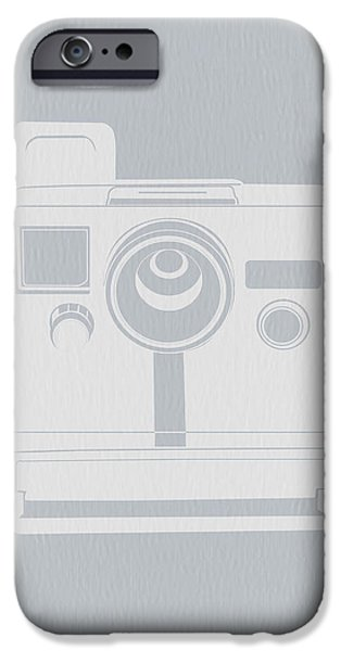 Camera iPhone Cases - White Polaroid Camera iPhone Case by Naxart Studio