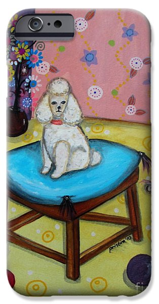 Bestfriend iPhone Cases - White Poodle iPhone Case by Pristine Cartera Turkus