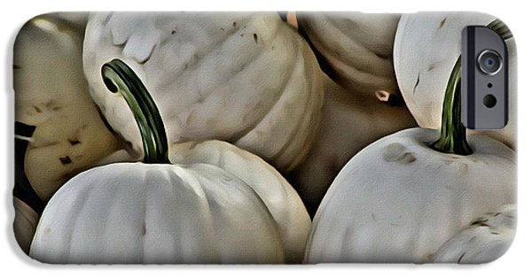 Farm Stand iPhone Cases - White Pumpkin iPhone Case by  Judy Bernier