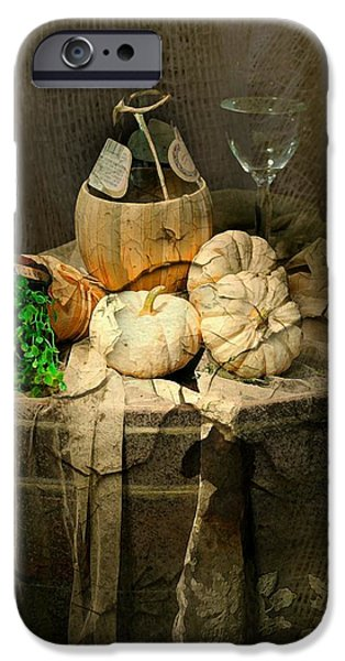 Table Wine iPhone Cases - White Pumpkins iPhone Case by Diana Angstadt
