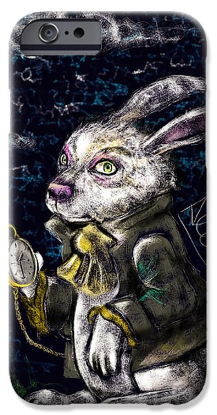 Alice In Wonderland iPhone Cases - White Rabbit iPhone Case by Alessandro Della Pietra
