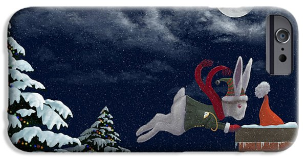 Snowy Night iPhone Cases - White Rabbit Christmas iPhone Case by Audra Lemke