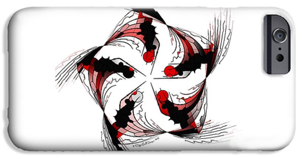Abstract Digital Art iPhone Cases - White, Red and Black iPhone Case by Jane Spaulding