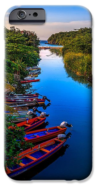 Canoe iPhone Cases - White River Jamaica iPhone Case by Lechmoore Simms