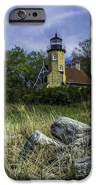 Lighthouse iPhone Cases - White River Lighthouse iPhone Case by Nick Zelinsky