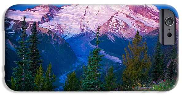 Snow iPhone Cases - White River Predawn iPhone Case by Inge Johnsson