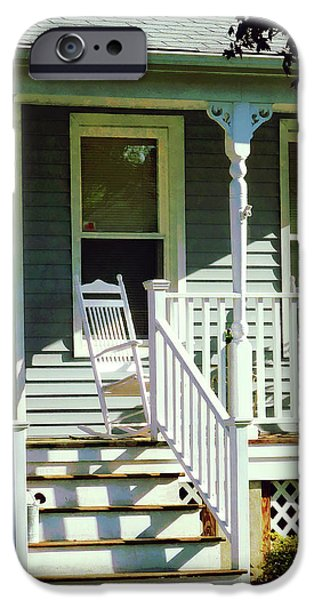 Town iPhone Cases - White Rocking Chairs iPhone Case by Susan Savad