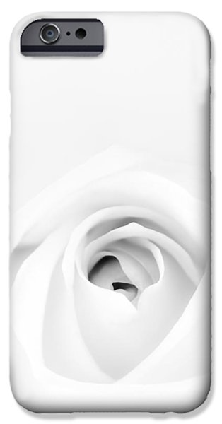Monotone Photographs iPhone Cases - White Rose iPhone Case by Scott Norris