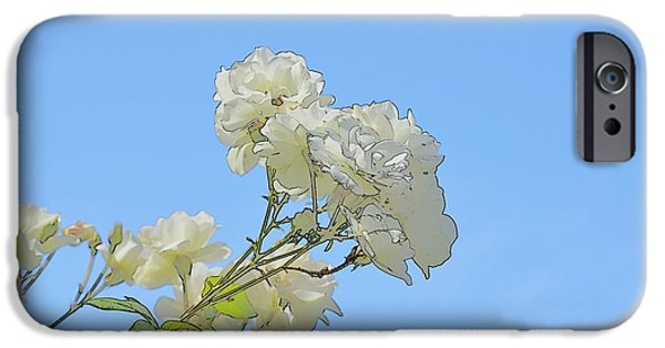 Abstract Digital Photographs iPhone Cases - White Roses Bright Abstract iPhone Case by Linda Brody