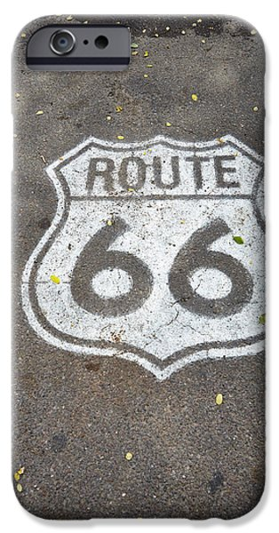 Close iPhone Cases - White Route 66 Sign Painted On Street iPhone Case by Gillham Studios
