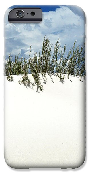 New Mexico iPhone Cases - White Sand Green Grass Blue Sky iPhone Case by Joe Kozlowski