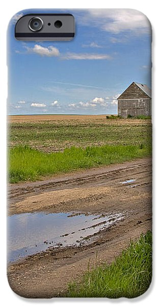 White Sheds on a Prairie Farm in Spring iPhone Case by Louise Heusinkveld