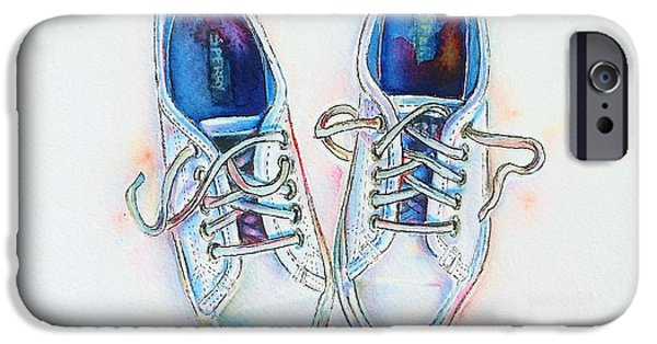 Shoe iPhone Cases - White sneakers iPhone Case by Willow Heath