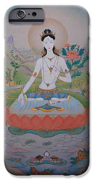 Tibetan Buddhism iPhone Cases - White Tara iPhone Case by Binod Art School