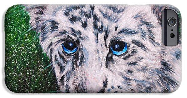 White Tiger Cub iPhone Case by Jai Johnson