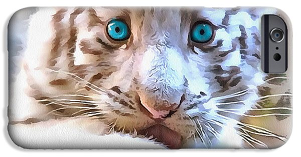The Tiger iPhone Cases - White tiger cub iPhone Case by Sergey Lukashin