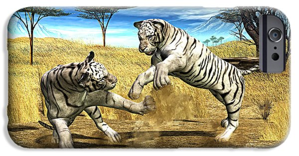 Tiger Digital iPhone Cases - White Tiger Fight iPhone Case by Methune Hively