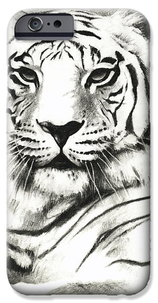 Recently Sold -  - The Tiger iPhone Cases - White Tiger Portrait iPhone Case by Lin Petershagen