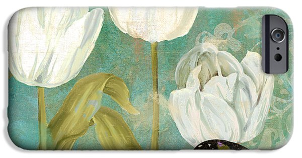 White Flowers Paintings iPhone Cases - White Tulips iPhone Case by Mindy Sommers