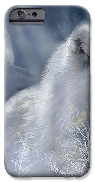 White Wolf iPhone Case by Carol Cavalaris