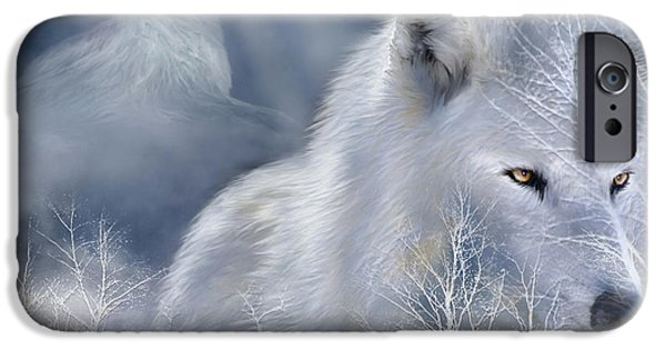 Arctic Wolf Mixed Media iPhone Cases - White Wolf iPhone Case by Carol Cavalaris