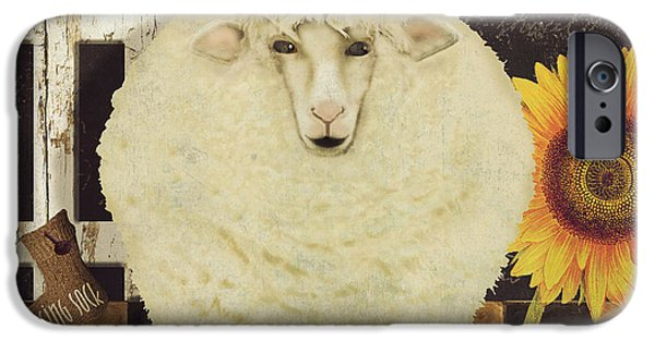 Sheep Paintings iPhone Cases - White Wool Farms iPhone Case by Mindy Sommers