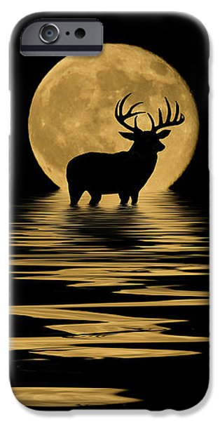 Evening Mixed Media iPhone Cases - Whitetail Deer in the Moonlight iPhone Case by Shane Bechler