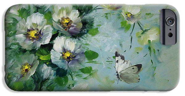 Recently Sold -  - David iPhone Cases - Whte Butterfly and Blossoms iPhone Case by David Jansen