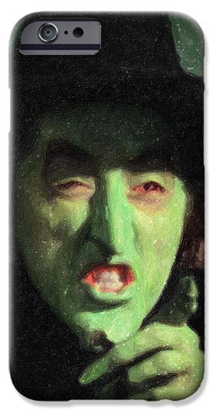 Green Witch iPhone Cases - Wicked Witch of the East iPhone Case by Taylan Soyturk